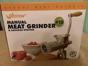 Weston 10 Manual Meat Grinder Sausage Deer Meat Stuffer Hand Grind Any Meat