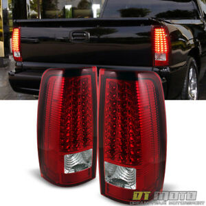 For 2003 2004 2005 2006 Silverado Red Clear Led Tail Lights Lamps Left Right Set