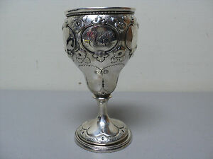 Fabulous Mid 19th C American Coin Silver Chased Goblet Chalice 176 Grams