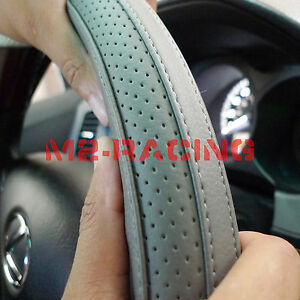 Pvc Leather Steering Wheel Cover With Needles Thread Diy Gray Size M Usa G4l