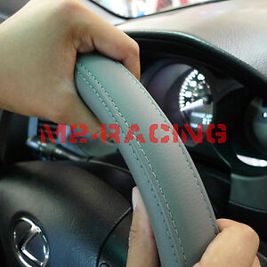 Pvc Leather Steering Wheel Cover With Needles Thread Diy Gray Size M Usa g2l