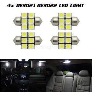 4 X Ultra White 6000k Led Bulbs 28mm Festoon 6smd Dome Map Interior Light De3021