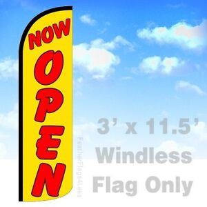 Now Open Windless Swooper Feather Flag Banner Sign 3x11 5 Yq