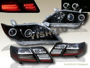 2007 2009 Toyota Camry Dual Ccfl Halo Projector Headlights Blk Led Tail Lights