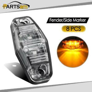 8pcs Led Light 2 Diode Clear Amber Universal Mount Clearance Side Marker Trailer