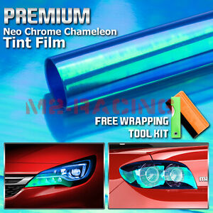 1ftx7ft Chameleon Neo Blue Color Headlight Taillight Fog Light Vinyl Tint Film