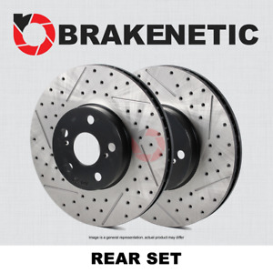 Rear Set Brakenetic Premium Drilled Slotted Brake Rotors Cobra Bnp61046 Ds