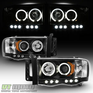 Black 2002 2005 Dodge Ram 1500 03 05 Ram 2500 3500 Halo Led Projector Headlights