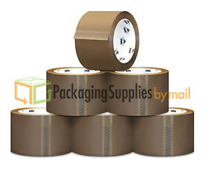 6 Rolls Brown Tan Machine Packing Tape 2 X 1000 Yd 2 0 Mil overstock