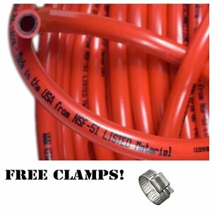 Red Gas Line 5 16 50ft Co2 Tubing Hose Free Clamps Kegerator Draft Beer Brew