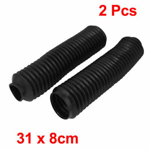 Front Shock Absorber Boot Protection Dust Cover Black Pair For Motorcycle