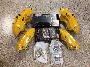 New Cadillac Cts v 6 Piston Yellow Brembo Calipers Front Rear W pads Pins Zl1
