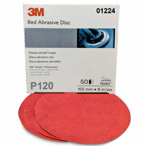 50ct 3m Hookit Red Abrasive Automotive Sandpaper Discs 01224 6 P120 Grit