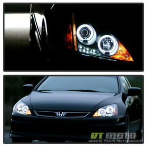 For Black 2003 2007 Honda Accord Led Dual Halo Projector Headlights Left Right