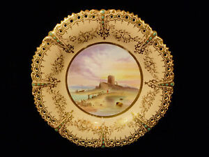 Early Coalport Hand Painted Gilt Reticulated Scenic Plate Of A Martello C 1825