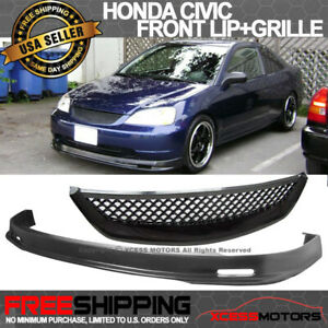 Fits 01 03 Honda Civic Mugen Style Pp Front Bumper Lip Spoiler Abs Hood Grill