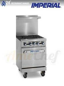 New 24 Gas Commercial Range 4 Open Burners 1 Oven Imperial Ir 4