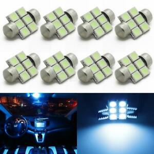 8 X Bright Ice Blue Led Bulbs 28mm Festoon 6smd Dome Map Light Interior De3021