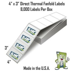 8000 Fanfold 4 X 3 Direct Thermal Labels Shipping Barcode Labels Zebra Ups