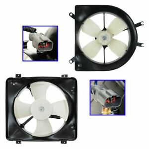 Ac Condenser Radiator Cooling Fan Assembly Pair Set For Acura El Honda Civic