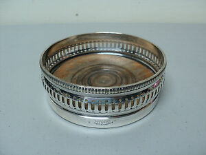 Stunning Antique Gorham Silver Plated Wine Coaster 0140 Turned Wood Base