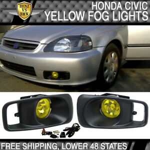 Fits 99 00 Honda Civic Ek Jdm Driving Fog Lights With Switch Yellow Lens Pair