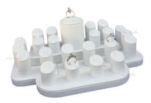 White Display Set Jewelry Display Stand Showcase Ring Display Holds 23 Rings