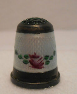Antique Sterling Silver Thimble Guilloche Enamel Flowers Green Top Germany 1900s