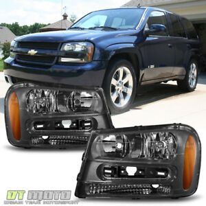 Black 2002 2009 Chevy Trailblazer Replacement Headlights Headlamps Left right