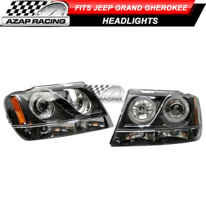 Fits 99 04 Jeep Grand Cherokee Halo Projector Headlamp Headlights Led Black