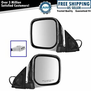 Mirrors Side Power Chrome Left Right Pair Set For Mitsubishi Montero Sport