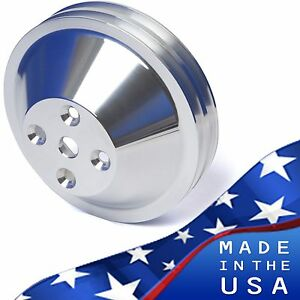 Polished Billet Aluminum Small Block Chevy Water Pump Pulley 2v Lwp Sbc 350 327