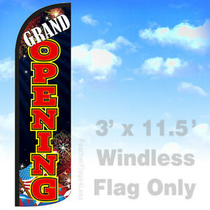 Grand Opening Windless Swooper Feather Flag Banner Sign 3x11 5 Kq