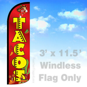 Tacos Windless Swooper Feather Flag Banner Sign 3x11 5 Rq