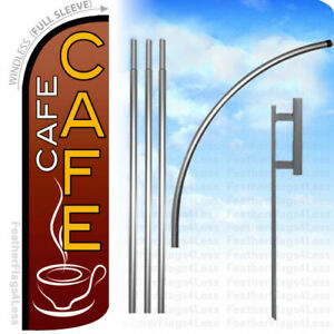 Cafe Windless Swooper Flag Kit Feather Banner Sign Rq