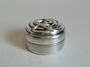 Unusual Vintage Silver Plated Trinket Pill Box Embossed Coiled Snake On Lid