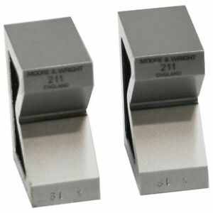 Vee Blocks Precision Ground Faces Cast Iron V block Pair Moore And Wright 211
