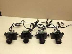 Lot Of 4 Tested Wren 12v Dc Cctv Board Camera W 3 5 8mm Lens Wires Bnc