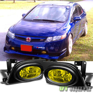 For 2006 2008 Honda Civic 4dr Sedan Yellow Bumper Fog Lights Lamps Switch Bulbs