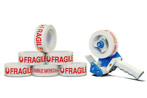 12 Rolls Fragile Shipping Tape 3 110 Yds 2 Mil 1 Free 3 Tape Gun Dispenser