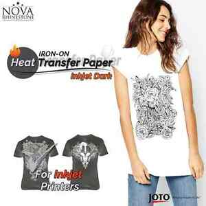 New Inkjet Iron on Heat Transfer Paper For Dark Fabric 100 Sheets 8 5 X 11