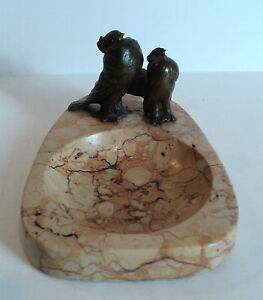 Nice Antique Art Deco Marble Dish Tray Mounted Bronze Turtle Doves