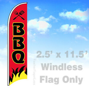 Bbq Windless Swooper Feather Flag Banner Sign 2 5x11 5 Rb
