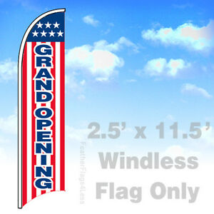 Grand Opening Windless Swooper Feather Sign Flag 2 5x11 5 Stars Stripe Rb