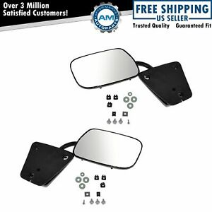 Mirror Manual Black 3 Bolt Mount Lh Driver Rh Passenger Pair For Chevy Gmc