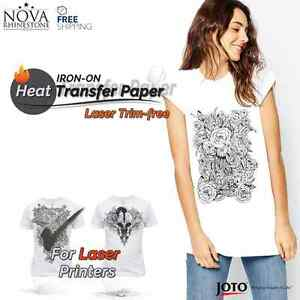 Laser Iron on Trim Free Heat Transfer Paper Light Fabric 50 Sheets 8 5 X 11