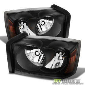 Black 2005 2007 Dodge Dakota Slt St Replacement Headlights Headlamps Pair 05 07