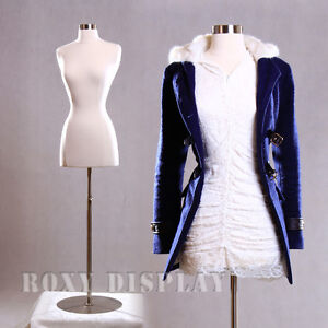 Female Size 2 4 Mannequin Dress Form Hard Form White f2 4w bs 04