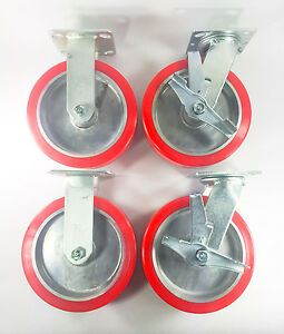 8 X 2 Polyurethane On Aluminum Caster Rigid 2ea Swivel With Brake 2ea