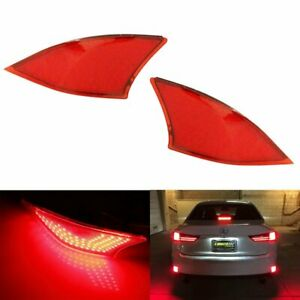 Red Lens 69 smd Led Rear Bumper Reflectors Lights For 2014 20 Lexus Is250 Is350